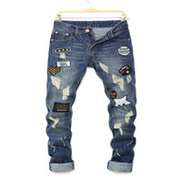 Wholesale Male Printed Denim - Wholesale- Halloween Denim Biker jeans Men Skinny 2016 Slim elastic jeans hip hop Washed printing Patched beggar male jeans
