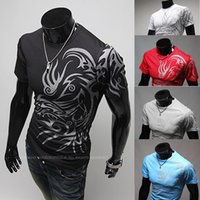 Wholesale Tattoo Printed Nylon Sleeves - 2017 new European and American fashion style dragon tattoo round neck short sleeve T-shirt printing compassionate