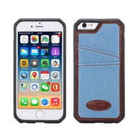 Wholesale Iphone Cases Cowboy - Card Slot TPU Back Cover Fashional Cool Jeans Cowboy Back Case For iPhone 6 7Plus With Card Slot Covers Cell Phone Case