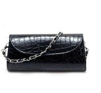Wholesale White Patent Leather Handbags Sale - Drop Shipping New Fashion Handbag Women Patent Leather Evening Party Bag Crocodile Chain Clutch Purse hot sale