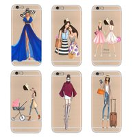Wholesale Transparent Shopping Bags - Transparent Soft TPU Phone Case Cover For iPhone 5 5S SE 6 6s 7 7 Plus Fashion Dress Shopping Girl Mobile Phone Bag