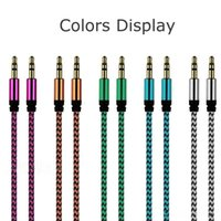 Wholesale Car Audio AUX Extention Cable Nylon Braided ft M wired Auxiliary Stereo Jack mm Male Lead for Mobile Phone computer Speaker