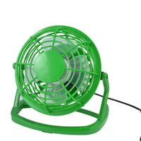Wholesale Green Usb Mini Fan - Wholesale- 360 Degree Rotation LapTop PC Cool Cooler Green Plastic Desk Mini USB Fan 4""