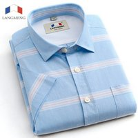 Wholesale Korean Formal Dresses Design - Wholesale- Langmeng 2016 Brand New Fashion high Quality Formal Dress shirts 100% cotton short Sleeve casual Shirt Men Korean Slim Design