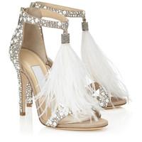 ingrosso scarpe da sposa piuma-Hot cristallo impreziosito bianco piuma strass frange tacchi alti sandali da sposa scarpe donna signore pompe a spillo