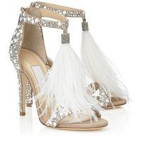 Wholesale Hot Pump Ladies - Hot Crystal Embellished White Feather Fringed Rhinestone High Heels Sandals Bridal Wedding Shoes Women Ladies Stiletto Pumps
