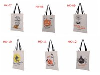 Wholesale 10pcs Types Halloween Tote Bags with Black Handle Pumpkin Christmas Shopping Bags Festival Gifts Bag Halloween Canvas Bag