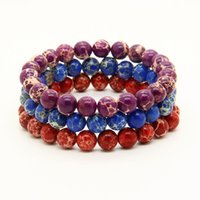Wholesale Good Quality Couples Rings - Wholesale New 10pcs lot Mix Colors 8mm Good Quality Blue, Red, Black, Turquoise Sea Sediment Stones Energy Couples Beaded Bracelets