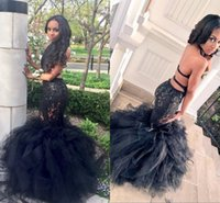 Wholesale Tiered Ruffled White Halter Dress - Sexy Black Long Mermaid Prom Dresses Halter Backless Tiered Puffy Train Floor Length Evening Party Gowns Formal Dresses Custom Made
