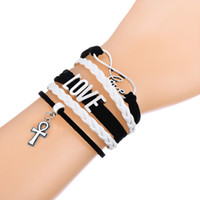Wholesale Infinity Knot Bracelet - Trendy Multilayer Braided Bracelet With Infinity LOVE Cross & Knot Love Pendant Pink and White Adjustable Leather Bracelets For Cross Lover