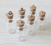 Wholesale Vial Diy - 50 x Small 1ML Mini Charm Glass Bottle with Cork used as DIY Wishing Glass Vial Pendant