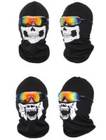 Wholesale Skull Dust Caps - Dust-proof breathing ride protect ears masks wind skiing sports caps neutral winter black protective neck skull riding face masks wholesale