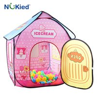 Wholesale Portable Ice Cream - NUKied Girl Ice Cream House Portable Play Tents Outdoor Garden Folding Toy Tent Pop Up Kids Princess Castle Children Playhouse