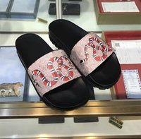 Wholesale Bee Room - 2017 new brand designer high-end fashion snake bee print Men's women Slippers Genuine leather Summer outdoor beach slippers WITH BOX
