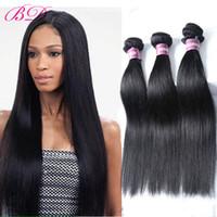peruvian hair para la venta al por mayor-BD New Big Sale barato pelo humano virginal peruano pelo liso 3/4 Bundles un conjunto