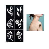 Wholesale Design Sheet Stencils Tattoo - Wholesale- 1 Sheet Fake Henna Stencil Tattoo Waterproof Temporary Flower Tattoo for Women Body Arm Leg Art Tattoo Sticker Paper Design S250