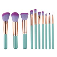 Wholesale Handle Sets Qualities - New arrival makeup green handle pink purple hair 9pcs makeup brushes make up brush tools high quality free shipping