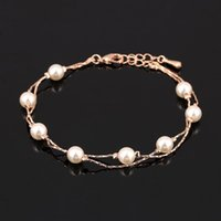 Wholesale Vintage Pearl Clasps Wholesale - Vintage Imitation Pearl Bead Bracelets & Bangles Wholesale 18K Rose Gold Platinum Plated Fashion Brand Wedding Jewelry For Women DFH169M