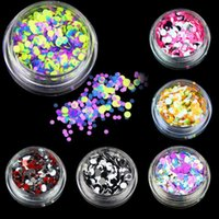 Wholesale Colourful Nail Tips - In Stock ! new item Nail Art Round Decorations New MinThin mixed colourful 1-3mm designs giliter pailettes nail art tips stickers 12pcs set