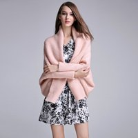 Wholesale Winter Wedding Coats For Women - 2017 Winter Warm Knitted Sweater Pink Cream Color Wedding Coat For Women V Neck Other Wedding Apparel In Stock