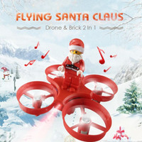 Wholesale Santa Claus Quadcopter Helicopter Christmas Toy Remote Control Aircraft With LED Light Christmas Music For Kids Gift