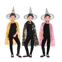 2017 Halloween Cloak Cap Partito Cosplay Prop per Festival Fancy Dress Bambini Costumi Witch Wizard Gown Robe e Cappelli Costume Cape Bambini