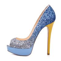 ingrosso pompe a punta di punta-Zandina Womens Fashion Sexy Handmade Tacco alto Peep Toe Platform Multicolor Stiletto Slide Scarpe da sposa Scarpe Glitter Blue Z7052