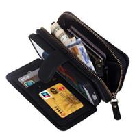 billetera iphone zip al por mayor-Caso de la cartera BRG Cremallera multifuncional Cuero de la PU 2 in1 Fundas de la contraportada extraíbles para iPhone 7 5S 6S Plus Galaxy S8 Plus