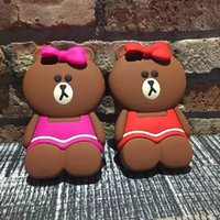 Wholesale Cute Girls Mobile Cases - Mobile Accessories 3D Silicon Material Girl Bear Cute Cartoon Phone Back Cover Case for iPhone7  iPhone5 iPhone6 iPhone6plus