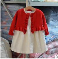 Wholesale Wholesale Velvet Shawls - Girls Knitting outwear Kids Fungus lace Cardigan sweater fashion child velvet coat Chinese Style short shawl Girls clothes G0695