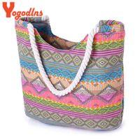 Wholesale Beach Camel - Wholesale-New Women Handbag Canvas Floral Printing Shoulder Beach Bags Casual Female Tote Shopping Bag Bolsa Feminina 2016