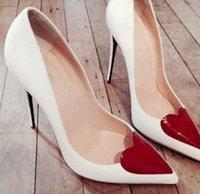 Wholesale Heart Heel Pumps - Women Party Heels Red Love Heart Front Embellished high heels Pointy toe 12 cm Stilettos Women fashion heels