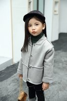 Wholesale Gray Suede Jacket - Children coats Autumn Winter Boys Girls Teddy velvet Both sides can wear jackets Kids Faux suede outwears Children clothes pink gray C1987