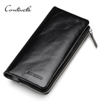 Wholesale Genuine Leather Pillows - CONTACT'S 2017 New Classical Genuine Leather Wallets Vintage Style Men Wallet Fashion Brand Purse Card Holder Wallet Long Clutch
