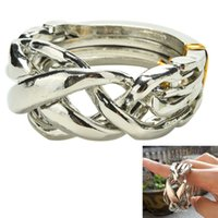 Wholesale Trick Puzzle - Wholesale- 1PCS Funny Puzzle Ring Easy to Do Magic Tricks Props Braided Sterling 4 Band Magic Ring Brain Teaser Educational Toy