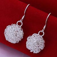 gancho de bola cuelga pendientes al por mayor-Moda 925 Sterling Silver Plated Ball Charms Hook Earrings Alta calidad Romantic Woman Simple Dangle Pendientes Jewelry Tennis Earrings