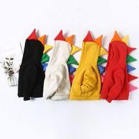 oğlan dinozor hoodie toptan satış-Ins sevimli tarzı çocuklar kız erkek Hoodies renkli boynuzlu dinozor tasarım 100% pamuk çocuk kalın sıcak Fermuar Hoodies Tişörtü 4 renkler