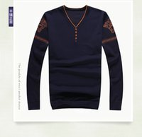 Wholesale Wholesale Sweater Knit - Wholesale- 2016 New Autumn Simple Straight Men's Sweater 100% Cotton Casual Thin Men's Sweaters Fall Winter Designer Sweaters Men Knitwear