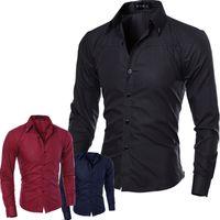 Wholesale Cheap Mens Fitted Dress Shirts - Wholesale- 2017 Spring Fashion Cheap Mens Dress Shirts Slim Fit Long Sleeve Plus Size Men Shirt 5XL