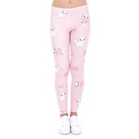Wholesale Girls Pussy - Girl Leggings Pussy Power Kitty 3D Graphic Print Women Skinny Stretchy Love Heart Pattern Pink Pants Yoga Fitness Capris Trousers (J43458)