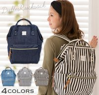 Wholesale Diaper Cartoons - Anello Backpack Blue White Stripe Japan Unisex Fashion Backpack Rucksack Diaper Bag Backpack Travel School Bag 4 color KKA2063