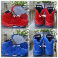 Wholesale Bulls Balls - Men Retro 5 V Raging Bull Red Suede Tongue Reflect Basketball Shoes Women Sport Shoe Retro 5s Bull Blue Sneakers Shoes Basket Ball