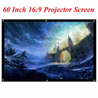 Wholesale Screen Fabric Portable - Free Shipping Portable 60 Inch 16:9 Black White PVC Fabric Matte Projector Projection Screen For Home Theater Movies Classroom Training