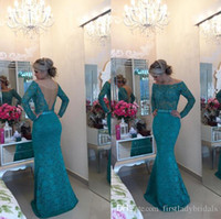 Wholesale Teal Trumpet Dress - Turquoise Lace Off The Shoulder Evening Gowns 2017 Teal Mermaid Open Back Long Sleeves Prom Dresses See Through China Vestido Social