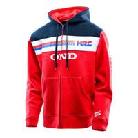 Wholesale Racing Bike Jackets Free Shipping - Free shipping 2016 Men's Team HRC For Honda Zip Up Hoodie Red Motorcycle Bike Men's Casual Suit Racing Hoodies