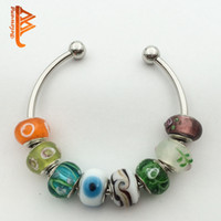 Wholesale Murano Stripe - BELAWANG Wholesale 925 Silver Colorful Stripe Murano Lampwork Glass Charm Beads For Pandora Original Charms Bracelet Jewelry DIY Making