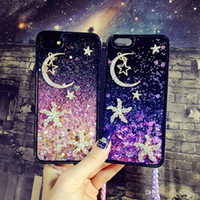 Wholesale Moon Cases - for iphone 5s 6 6s 7 8 plus Luxury Diamond Starfish Moon Star Heart Liquid quicksand Heart glitter Soft case cover phone straps