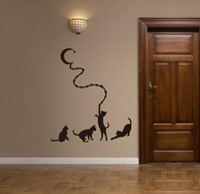 ingrosso i mazzi di animali dei capretti-Adesivo murale gatto luna Adesivi murali animali cartoon per bambini camere arredamento per la casa vendita calda