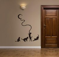 duvar resimleri karikatür hayvanlar toptan satış-Kedi Ay Duvar Sticker Duvar Çıkartmaları Karikatür Çocuk Çocuk Odaları Ev Dekorasyonu için Hayvan Çıkartmalar Sıcak Satış