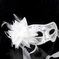 Vente chaude Vénitienne Feather Lace Flower Eye Mask Masquerade Ball Costume Party Fancy Dress masque venitien MOQ: 100PCS